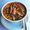 Soupe épicée au poulet grillé et légumes / Spicy grilled chicken and vegetables soup