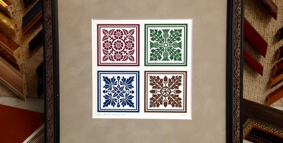 Four Floral Tiles