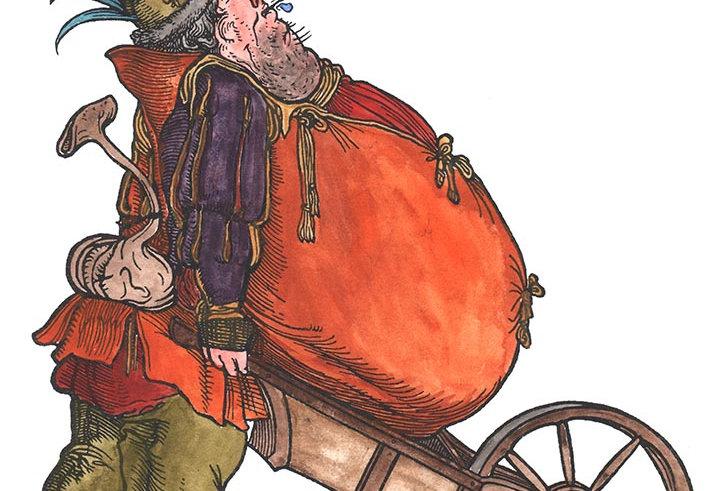 Winebag and Wheelbarrow