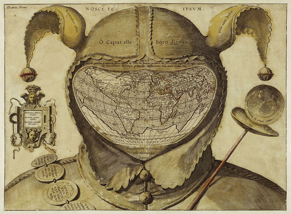 The Foolscap Map of circa 1590 O caput elleboro dignum. The world in the head of a fool.
