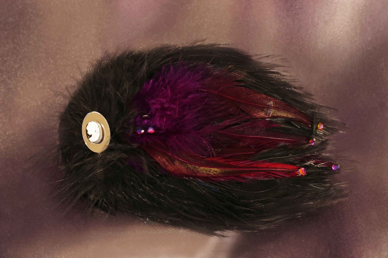 $30 Medium Feather Fascinator -Black and Violet Available in a Variety of Shapes
