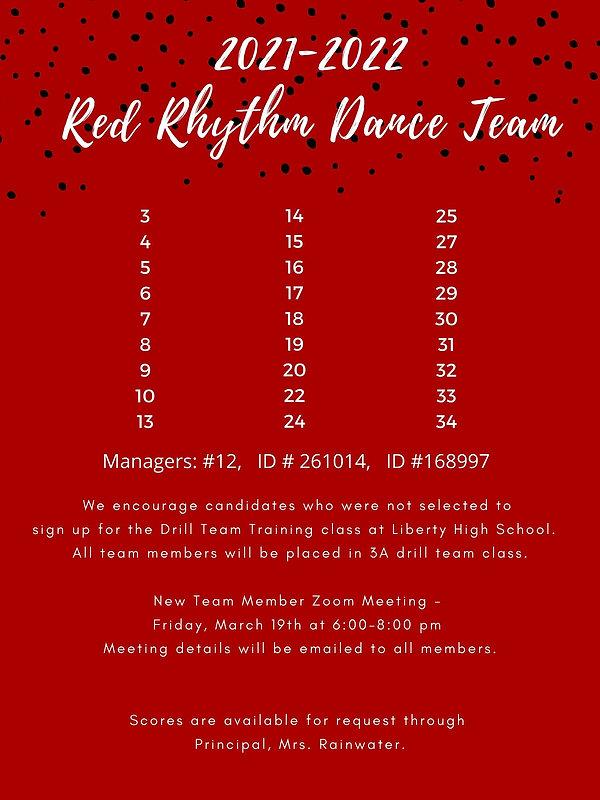 2021 Red Rhythm Dance Team Announcement.