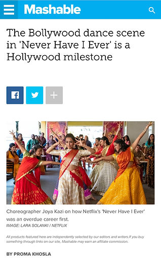 MASHABLE Joya Kazi's Bollywood dance scene in 'Never Have I Ever' is a Hollywood Milestone Interview