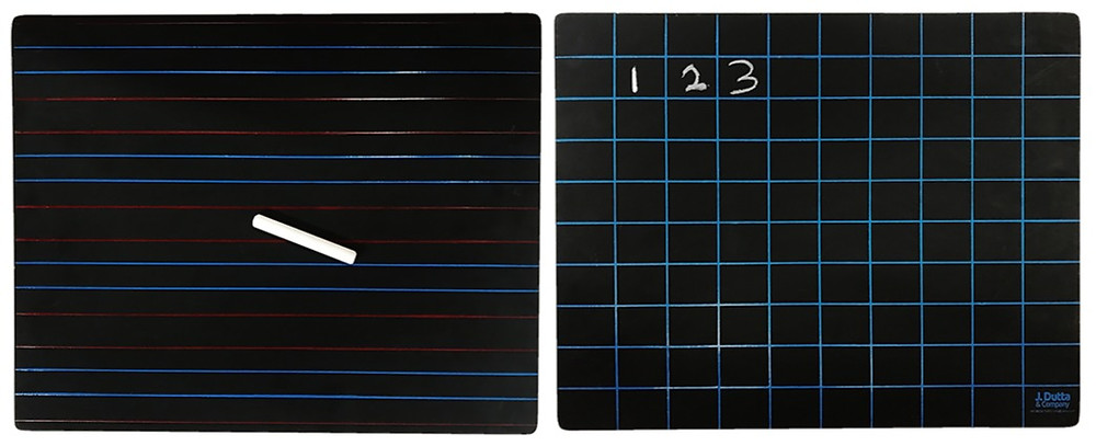 Front and Back View of J. Dutta & Co. Wooden Slate with Red and Blue Lines on the Front and 100 Blue Squares on the back