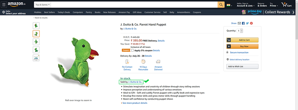 Screenshot of a J. Dutta & Co. branded Parrot Hand-Puppet listed on an e-commerce website with an option to Add to Cart and seller name highlighted