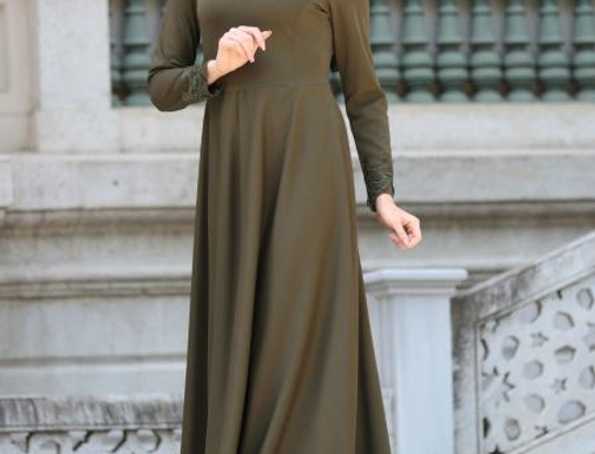 Khaki Long Sleeved Lace Maxi Dress