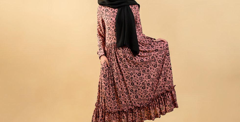 Pink Floral Print Long Sleeved Midaxi Dress
