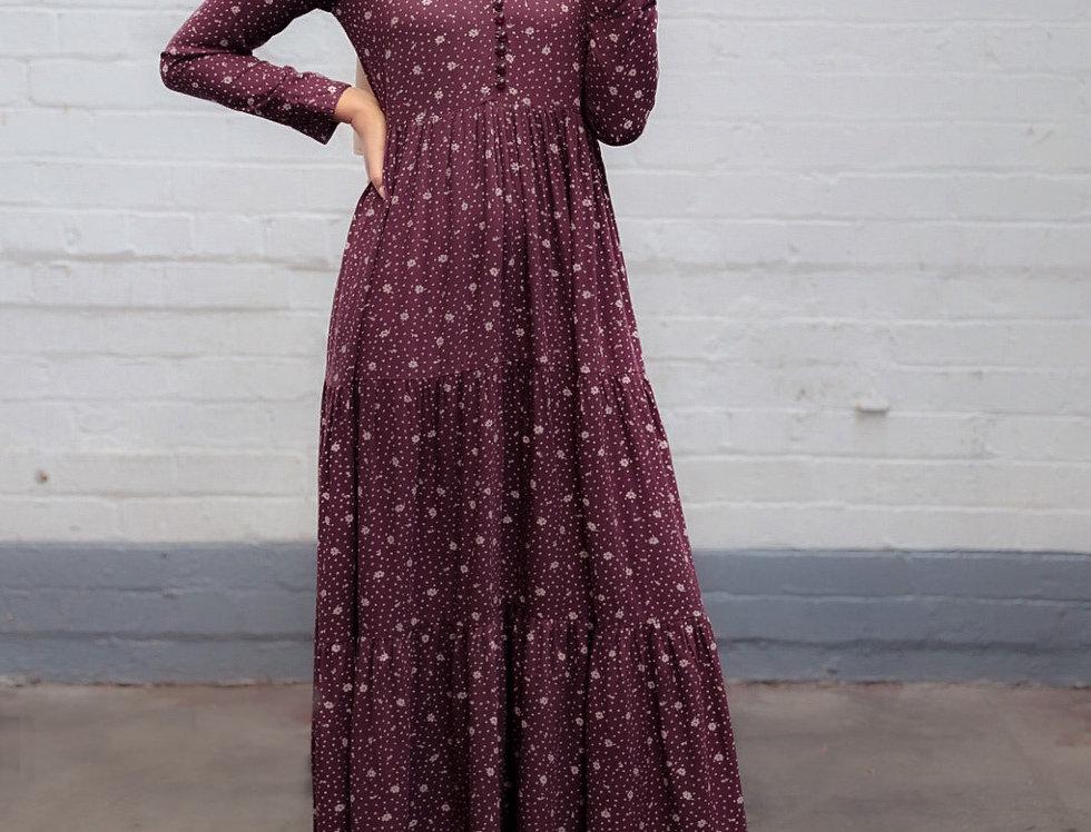 Maroon Long Sleeved Floral Maxi Dress