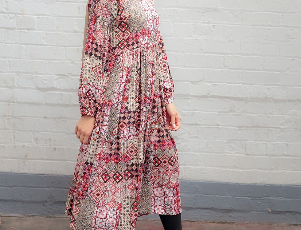 Printed Long Sleeved Midi Dress