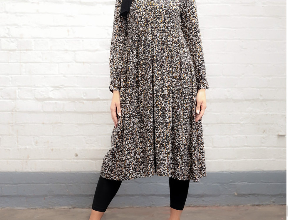 Speckle Print Long Sleeved Midi Dress