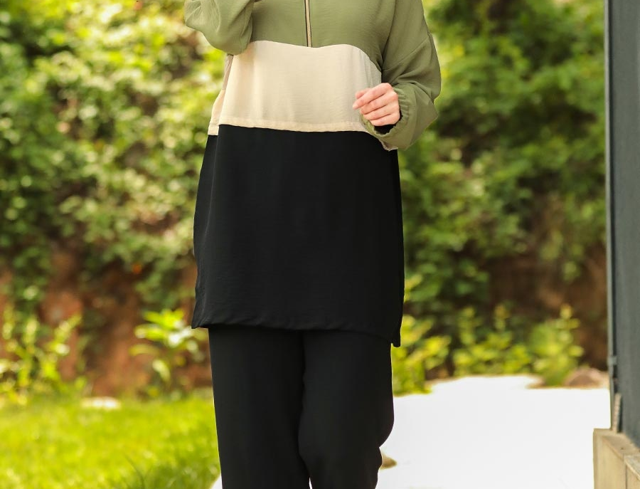 Khaki Crepe Long Sleeved Hooded Co Ord Set