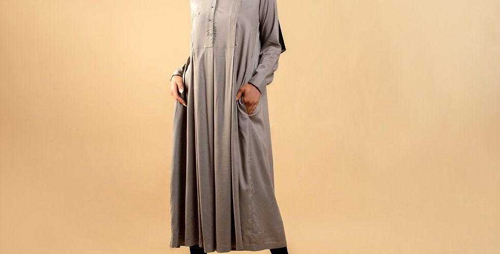 Pewter Long Sleeved Midaxi Dress