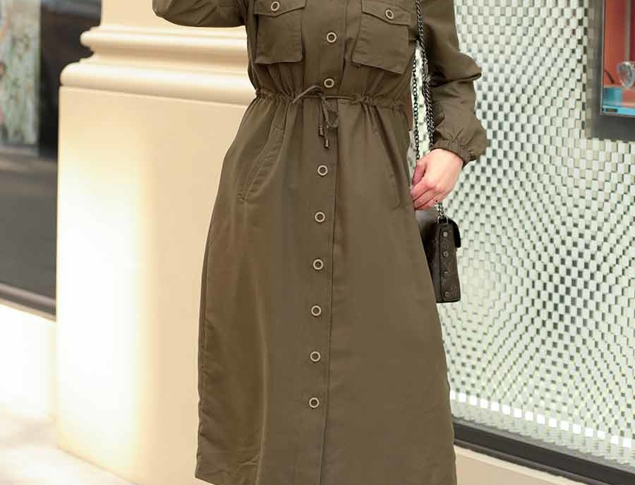 Khaki Long Sleeved Midi Shirt Dress