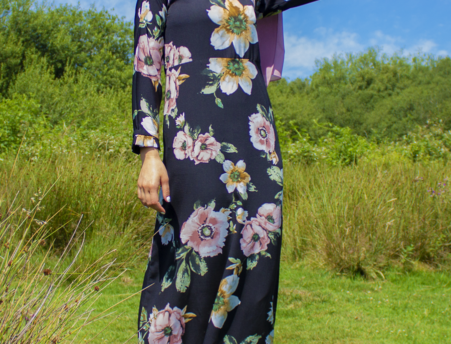 Black Floral Long Sleeved Maxi Dress