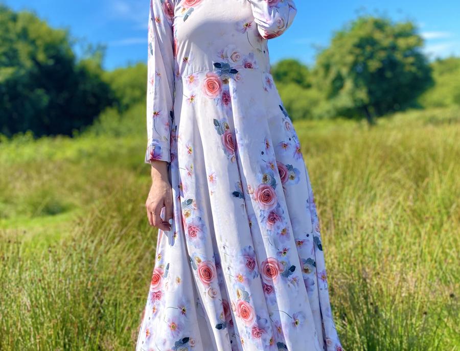 Cream High Neck Floral Maxi Dress
