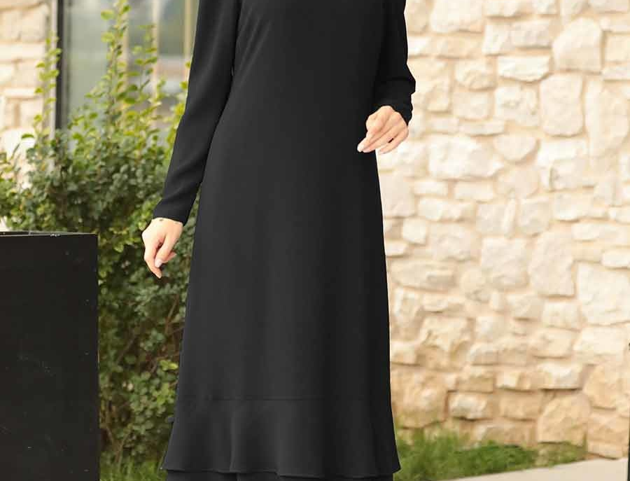 Black Long Sleeved Maxi Dress