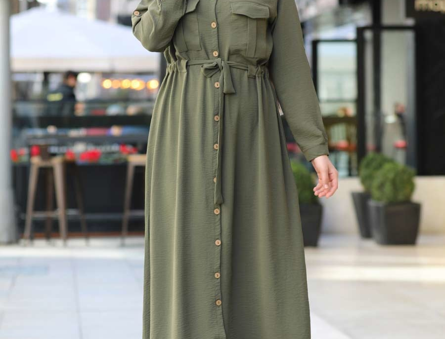 Khaki Long Sleeved Shirt Maxi Dress