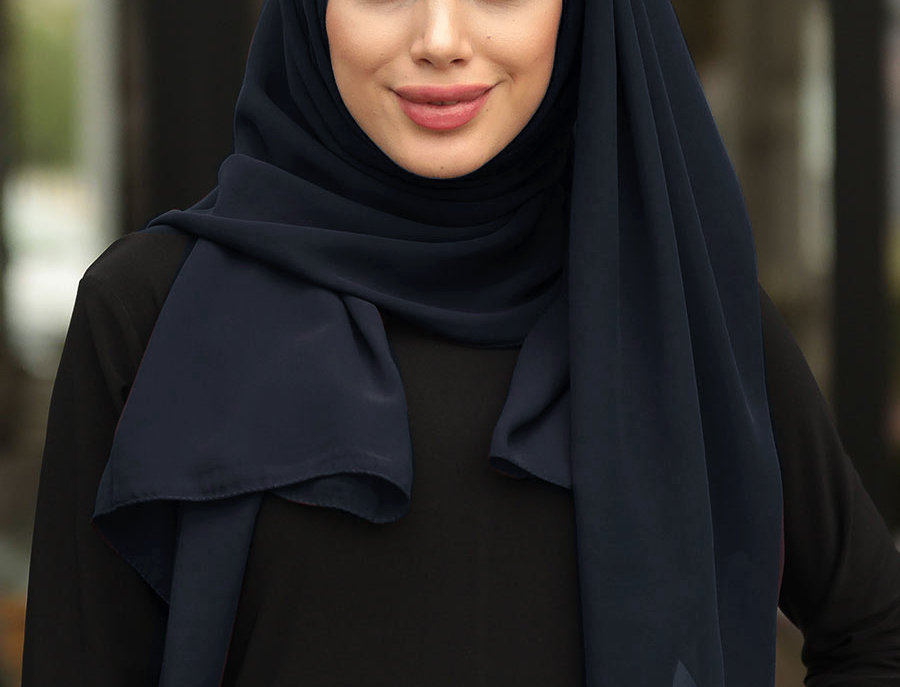 Navy Chiffon Hijab