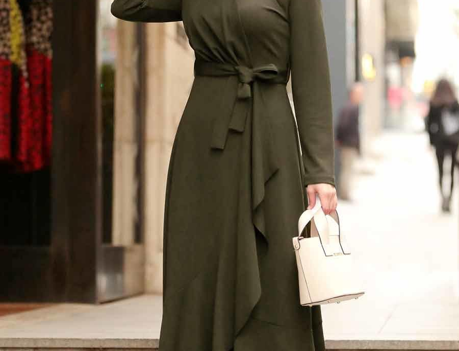 Khaki Long Sleeved Maxi Dress