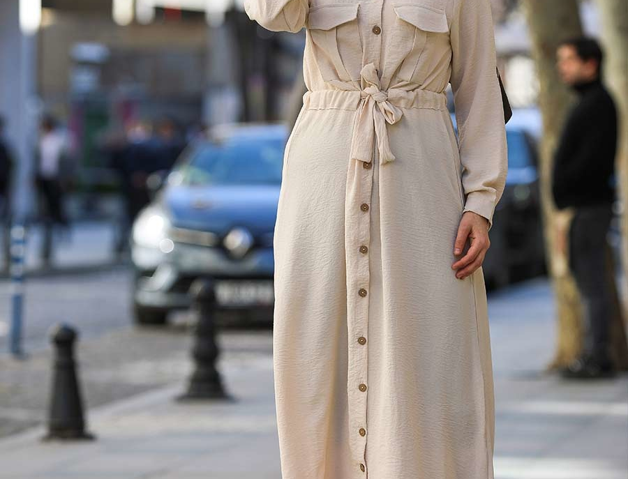 Beige Long Sleeved Shirt Maxi Dress