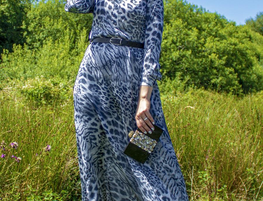 Grey Tiger Print Silk Maxi Dress with Belt