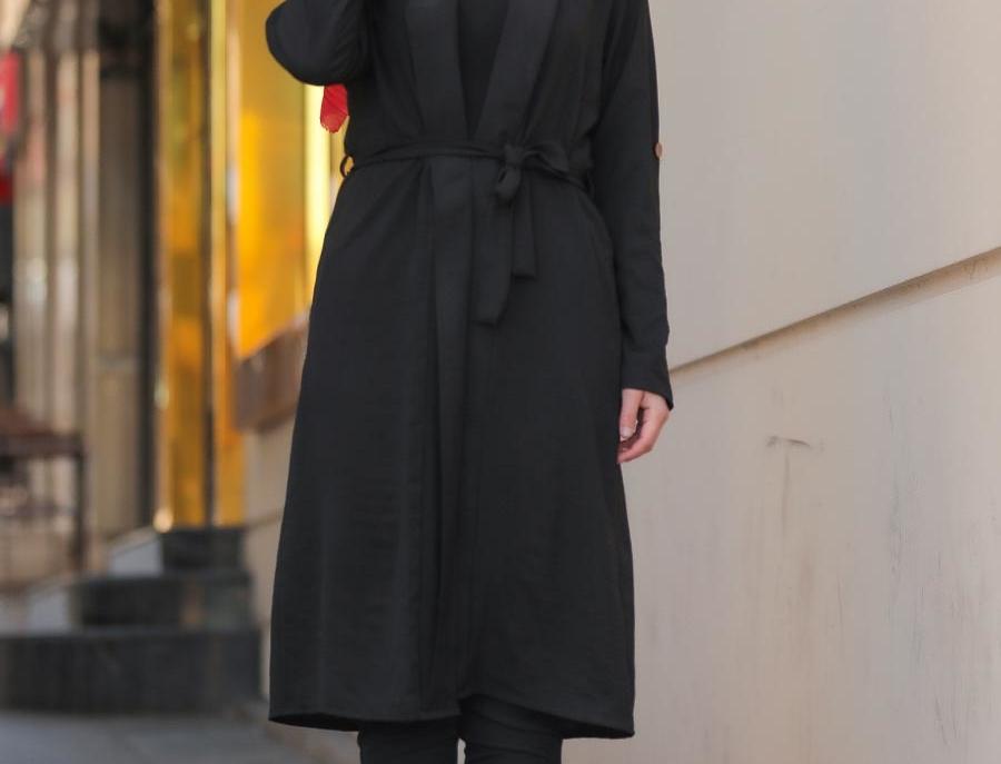 Black Long Sleeved Jacket with Belt