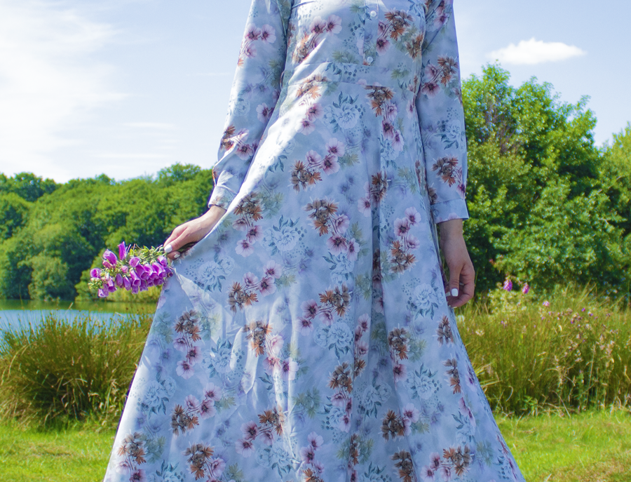 Pistachio Long Sleeved Floral Maxi Dress