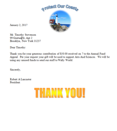 Sustain acknowledgment letter