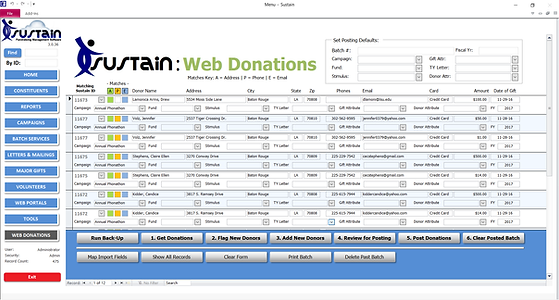 Sustain web donations form