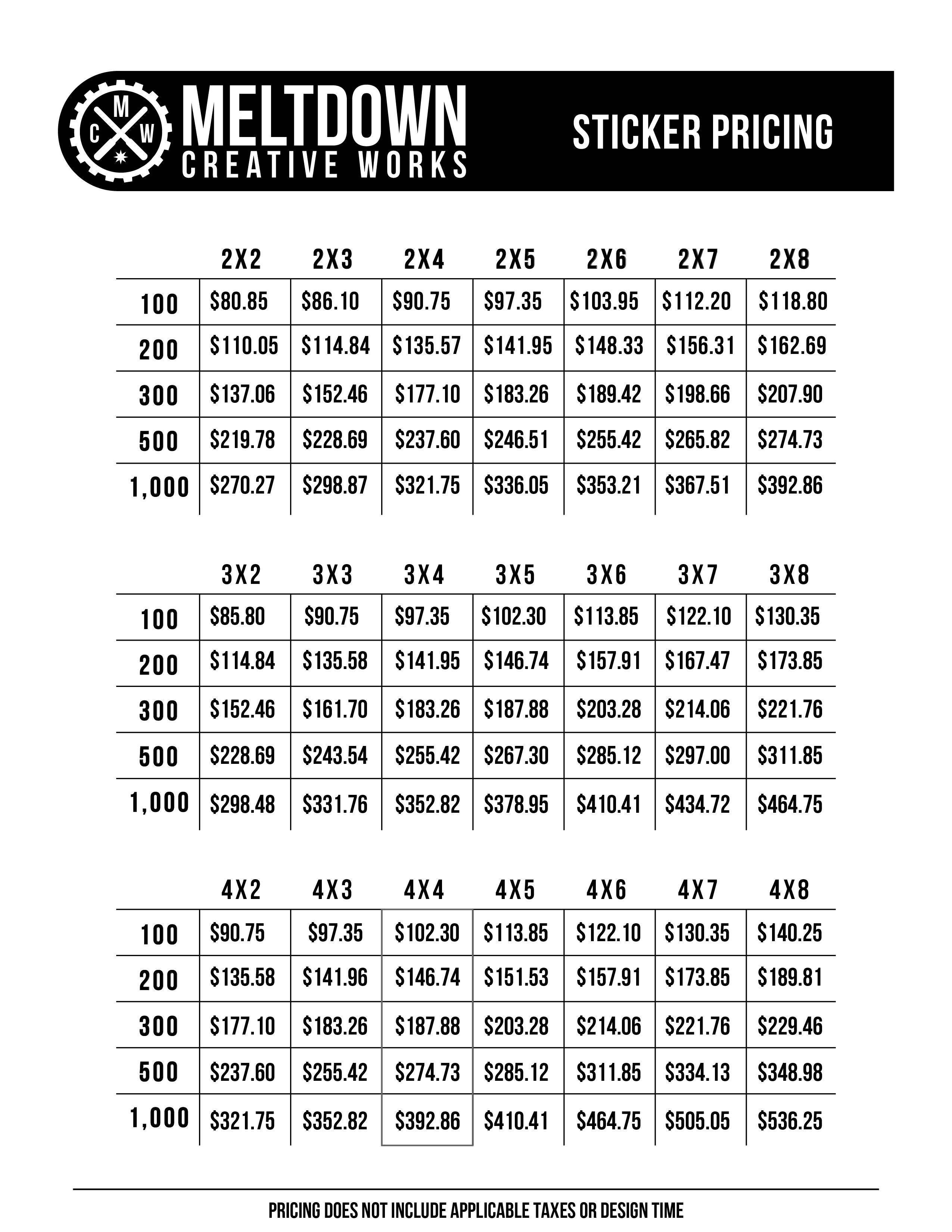 MCW Pricing Sheet - Stickers