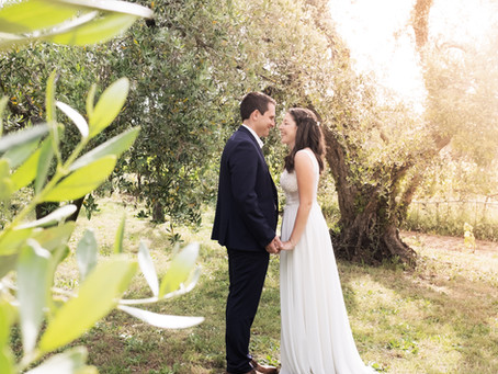 A tuscan wedding: the olive trees and a magic sunlight.