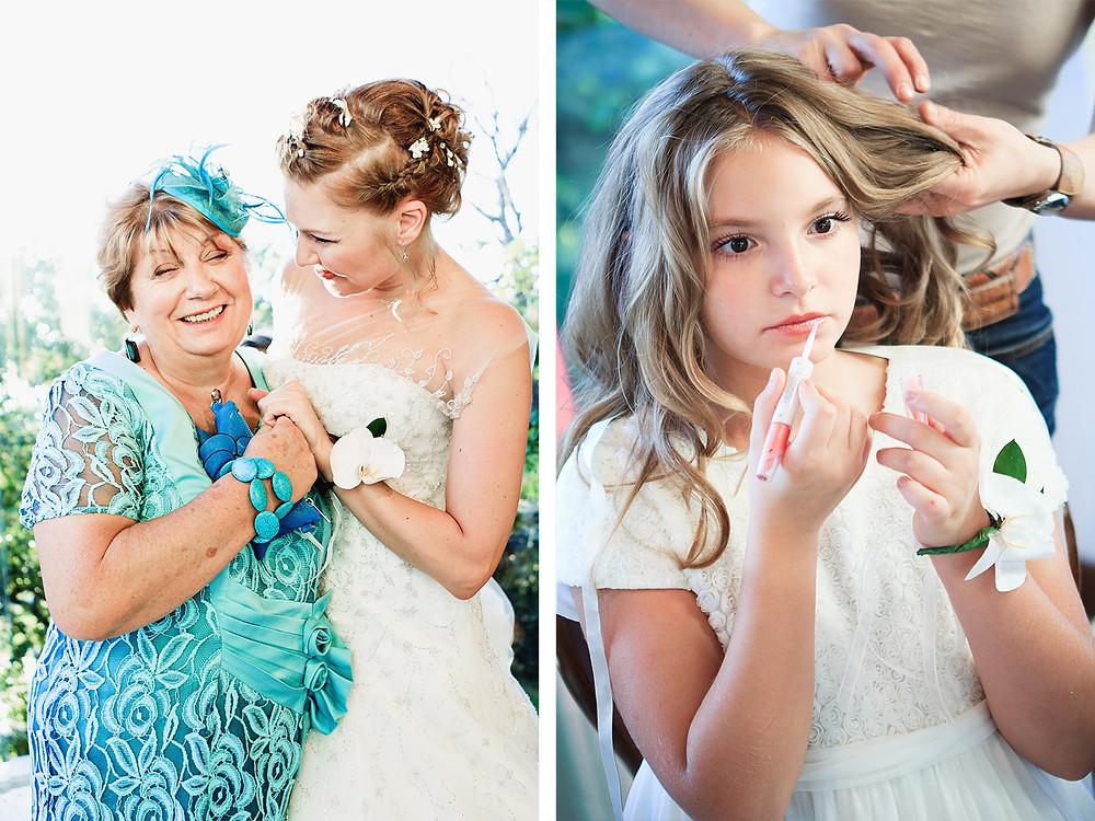 La sposa, la mamma e la damigella.