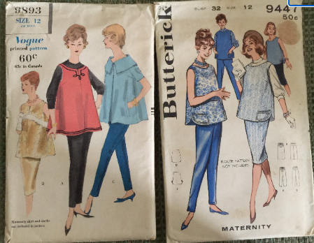 Vintage 1950's Maternity Sewing Patterns - 2 Patterns