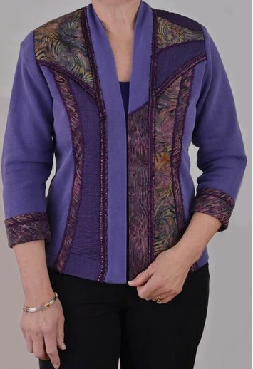 Grape Batik/Silk Trimmed Sweatshirt Makeover