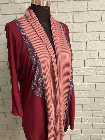 Knit Jacket Up-Cycle Garment with Front Drape and Silk Tie Trim (3XL)