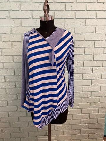 Striped Crazy Long Jersey Knit Top (Medium)