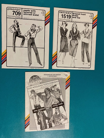 Stretch & Sew Patterns - Group 13 709, 1519, 5040 from 1980's