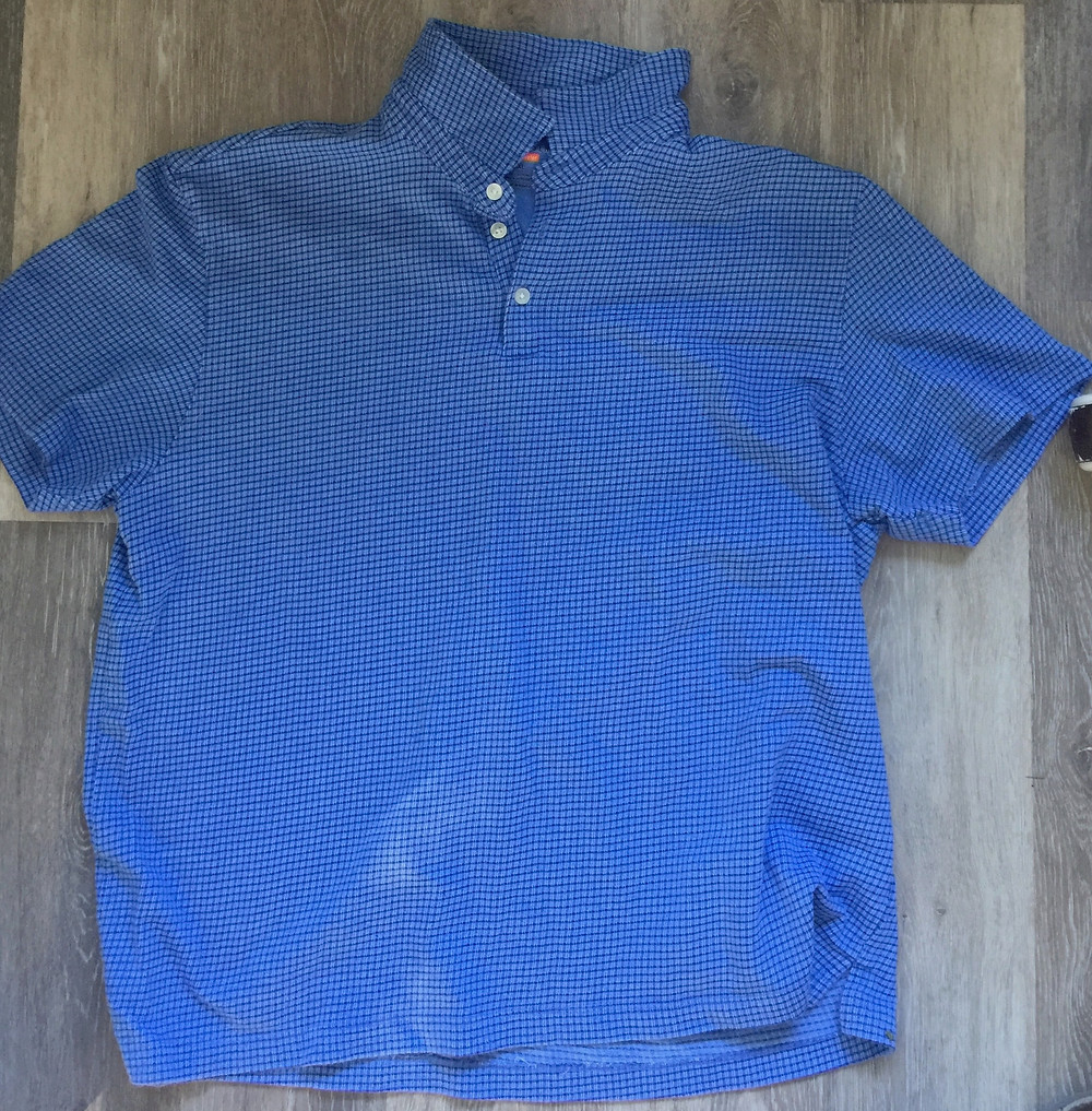 Original knit check tabbed/collar men's polo shirt