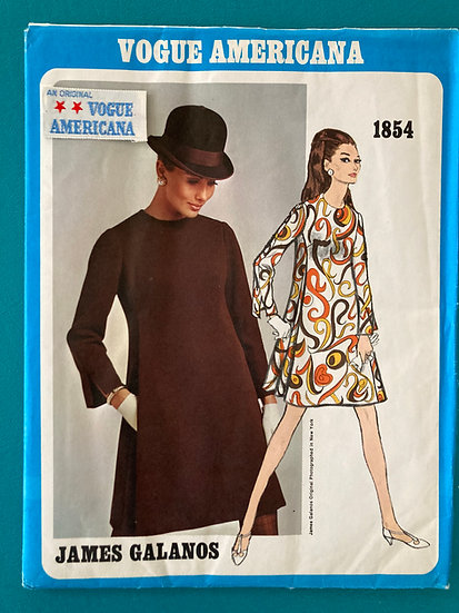 Vogue Americana Pattern 1854 James Galanos Size 12 Uncut with Label