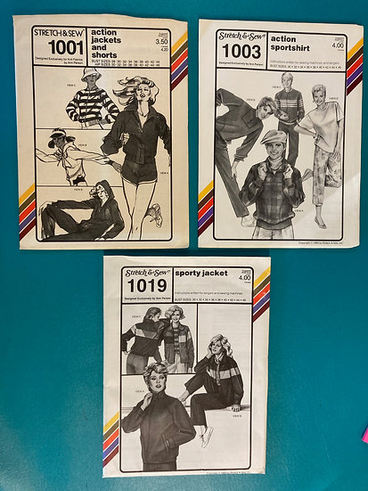 Stretch & Sew Group 52:  1001, 1003, 1019  form 70's & 80's