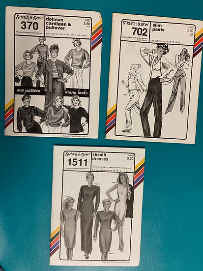 Stretch & Sew Patterns - Group 9:  370, 702, 1511 from 70's, 80's, 90's