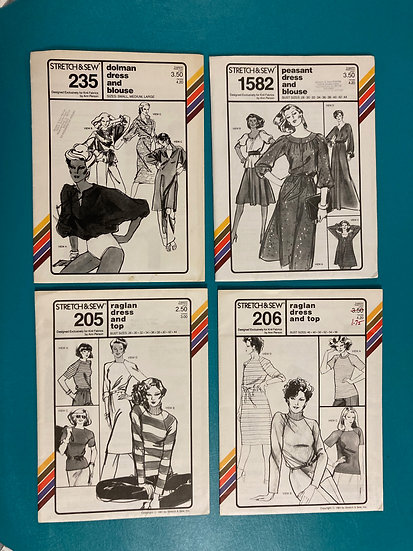 Stretch n' Sew Patterns Group 8:  234, 1582, 205, 206 from 70's and 80's