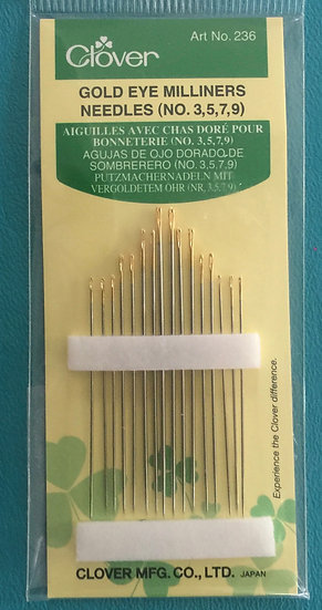 Clover Gold Eye Milliners Needles Size 3, 5, 7, 9