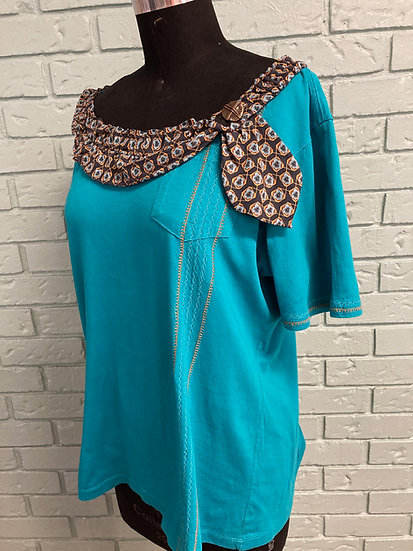 Teal Tie-Trimmed/Embroidered Up-Cycle Top (XL)