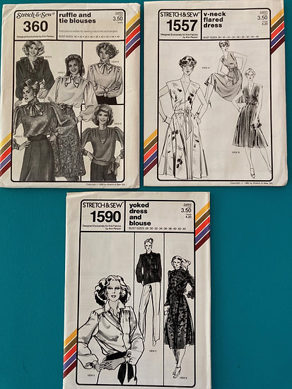 Stretch & Sew Patterns - Group 40:  360, 1557, 1590 from 70's & 80's