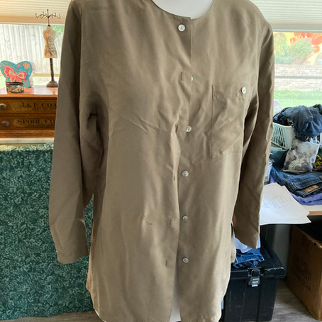 Silk Shirt + Fabrics On Top = NEW TOP/Jacket