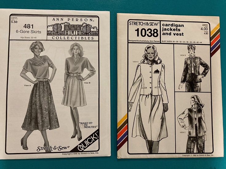 Stretch & Sew Patterns - Group 24:   481, 1038  from 80's, 90's