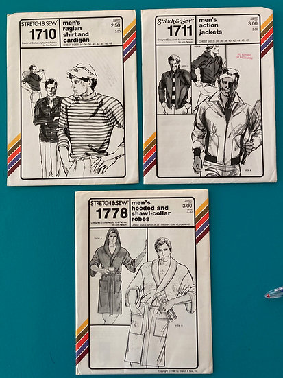 Stretch & Sew Men's Patterns Group 30:  1710, 1711, 1778 from 70's & 80's