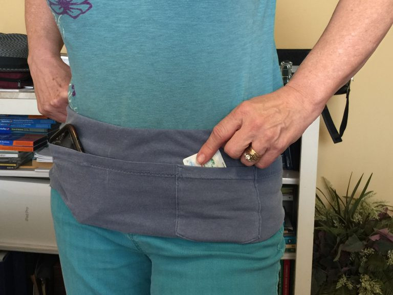 Walking Pouch to hold cellphone and ID from old T-Shirt