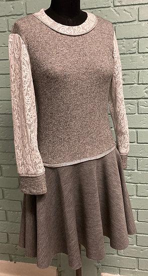 Grey Knit Tunic Top with Wool Knit Flounce  (Medium)